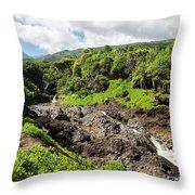 Seven Sacred Pools Ohe'o Mau Throw Pillow