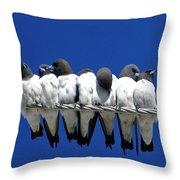 Seven Swallows Sitting Throw Pillow