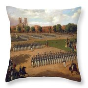 Seventh Regiment On Review. Washington Square. New York Throw Pillow