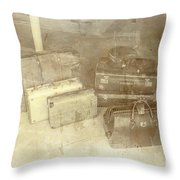 Several Vintage Bags On Floor Throw Pillow