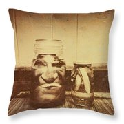 Severed And Preserved Head And Hand In Jars Throw Pillow