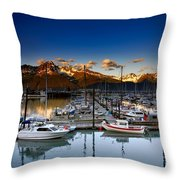 Seward Alaska Boat Marina Throw Pillow