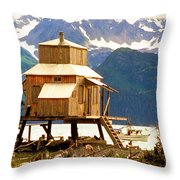 Seward Alaska House Of Stilts Throw Pillow