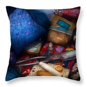 Sewing - Devoting To Sewing  Throw Pillow by Mike Savad