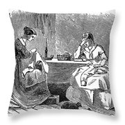 Sewing, 19th Century Throw Pillow