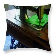 Sewing Machine With Green Cloth Throw Pillow