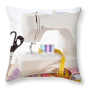Sewing Machine With Many Sewing Utensils On A Wooden Box Throw Pillow