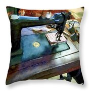 Sewing Machine With Sissors Throw Pillow