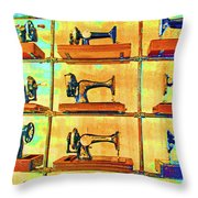 Sewing Machines Come To Life Throw Pillow