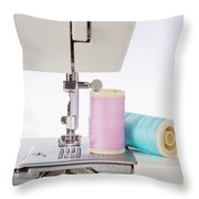 Sewing Threads In Pastel Colors And Detailed View Of A Sewing Machine Throw Pillow