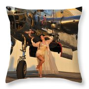 Sexy 1940s Pin-up Girl In Lingerie Throw Pillow