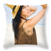 Sexy Beach Adventure Throw Pillow