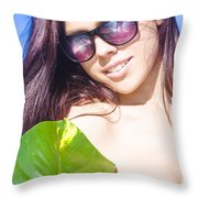 Sexy Beach Girl With Leaf Throw Pillow