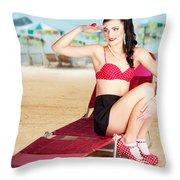 Sexy Beach Pin Up Girl Wearing High Heels Throw Pillow