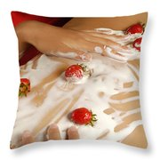 Sexy Nude Woman Body Covered With Cream And Strawberries Throw Pillow