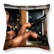 Sexy Woman In Lingerie Sitting On A Window Sill Throw Pillow