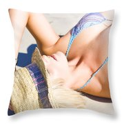 Sexy Woman On Sand Throw Pillow