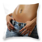 Sexy Woman With Pierced Belly In Blue Jeans Throw Pillow