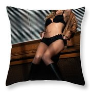 Sexy Young Woman In Lingerie Throw Pillow