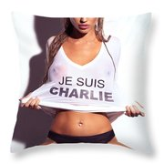 Sexy Young Woman In Wet Je Suis Charlie Shirt Charlie Riina Throw Pillow