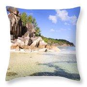 Seychelles Rocks Throw Pillow
