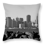 Sf Skyline  Bw Throw Pillow