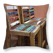 Shabby Chic Chairs Throw Pillow