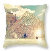 Shabby Chic Louvre Museum Paris Throw Pillow