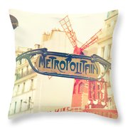 Shabby Chic Moulin Rouge Metro Sign Paris Throw Pillow