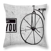 Shabby Chic, Old Bicycle No 01 Throw Pillow