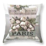Paris Shabby Chic Pastel Paris Books Roses - Paris Shabby Cottage Watercolor Roses Throw Pillow