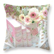 Shabby Chic Pink And Yellow Gerber Daisies Floral Art - Spring Cottage Daisies Floral Art Throw Pillow