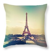 Shabby Chic Vintage Style Eiffel Tower Paris Throw Pillow