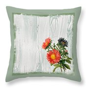 Shabby Chic Wildflowers On Wood Throw Pillow
