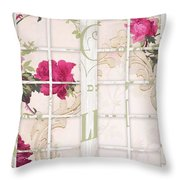 Shabby Cottage French Doors Throw Pillow