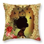 Shabby Fae Silhouette  Golden Throw Pillow
