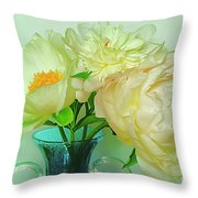 Beautiful Peony Flowers  In Blue Vase. Throw Pillow