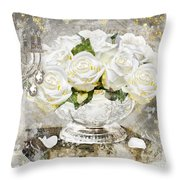 Shabby White Roses With Gold Glitter Throw Pillow