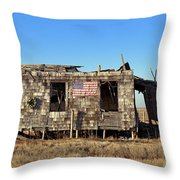 Shack With American Flag Throw Pillow by John Greim
