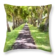 Shaded Walkway To Princeville Market Throw Pillow