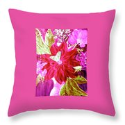 Shades Of Pink Flowers Throw Pillow
