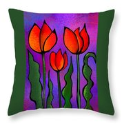 Shades Of Tulips Throw Pillow