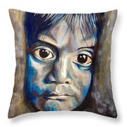 Shades Of Why, Sad Child Painting Throw Pillow