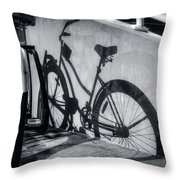 Shadow Of A Bike At Carolina Beach Throw Pillow