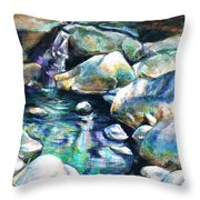 Shadow Play In Mission Creek Throw Pillow