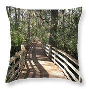 Shadows On A Boardwalk Through The Swamp Throw Pillow