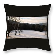Shadows On A Snow Covered Field Throw Pillow