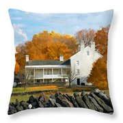 Shaker House And Stone Fence Throw Pillow