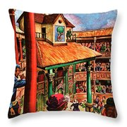 Shakespeare Performing At The Globe Theater Throw Pillow
