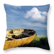 Shanghai Boat On Beach Throw Pillow